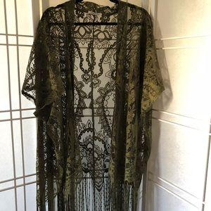 Lace tassel lace kimono. Size L NWOT army green